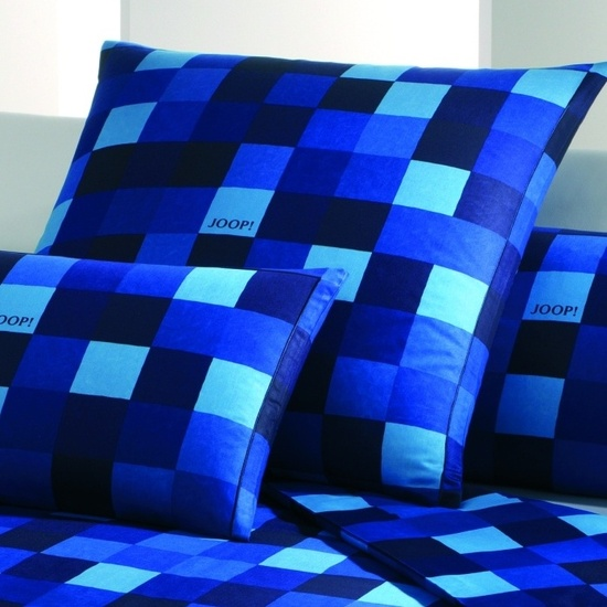 bilder joop mako satin bettw sche mosaik kariert blau. Black Bedroom Furniture Sets. Home Design Ideas