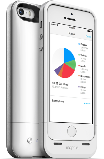 Mophie Space Pack 16 GB for iPhone 5 / 5s, white- integrierten 1.700 mAh-Akku + 16 GB Speicher 2616_SP-IP5-16GB-WHT