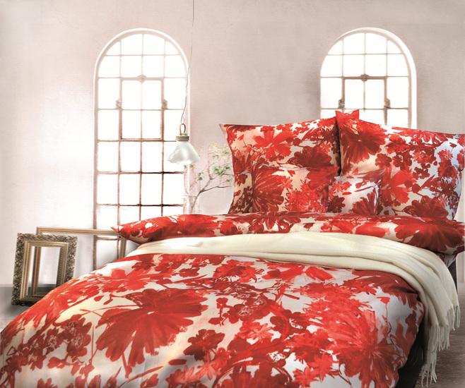 Pfeiler Mako Satin Bettwäsche rot-weiß Deckenbezug 135x200 cm