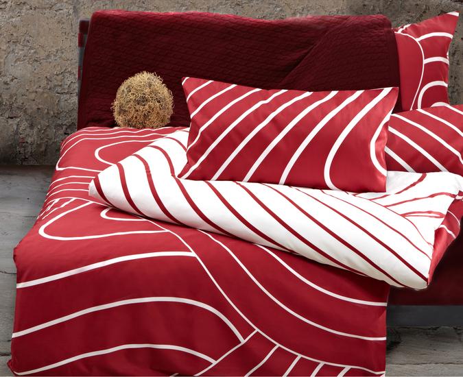 Pfeiler Mako Satin Bettwäsche Rot/weiß, super weich Deckenbezug 135x200 cm