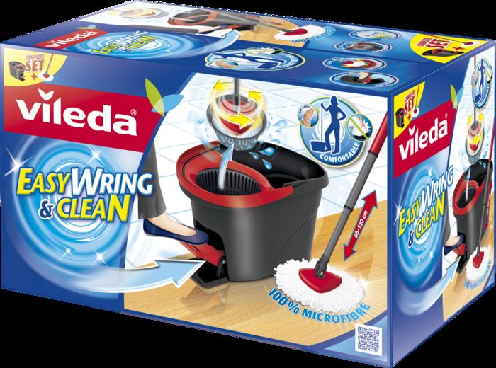 Vileda Easy Wring & Clean Wischmop (Microfaser Mop und Eimer mit PowerSchleuder) 133649