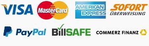Zahlung per Kreditkarte, per Paypal, per Rechnung, per Ratenkauf
