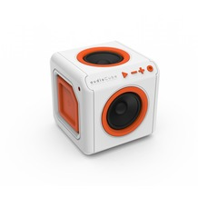 allocacoc audioCube Portable, Bluetooth Akku Lautsprecher im Cube Design, weiß / orange