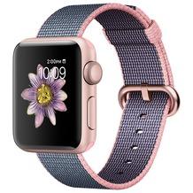 Apple Watch Series 2 - 38mm, Alumiumgehäuse (roségold) mit gewebtem Nylonarmband (hellrosa/mitternachtsblau)