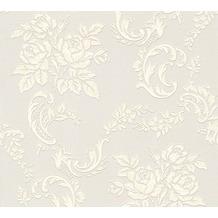 AS Création barocke Mustertapete Belle Epoque Strukturprofiltapete creme metallic weiß 10,05 m x 0,53 m