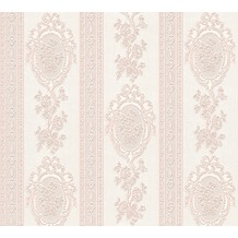 AS Création barocke Mustertapete Belle Epoque Strukturprofiltapete metallic rosa weiß 10,05 m x 0,53 m