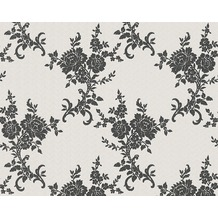 AS Création barocke Mustertapete Belle Epoque Strukturprofiltapete metallic schwarz weiß 10,05 m x 0,53 m