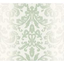 AS Création barocke Mustertapete Reflection Vliestapete Tapete grün metallic weiß 10,05 m x 0,53 m