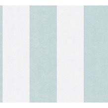 AS Création Blockstreifentapete Memory 3 Vliestapete blau creme 10,05 m x 0,53 m