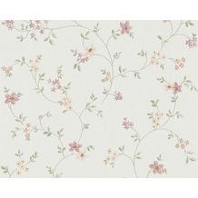 "AS Création Fleuri Pastel Mustertapete ""Field Flowers"", Tapete, bunt, grün, weiss 10,05 m x 0,53 m"