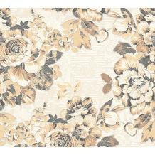AS Création florale Mustertapete Belle Epoque Strukturprofiltapete beige metallic schwarz 10,05 m x 0,53 m