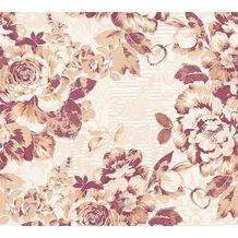 AS Création florale Mustertapete Belle Epoque Strukturprofiltapete braun metallic rot 10,05 m x 0,53 m