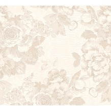 AS Création florale Mustertapete Belle Epoque Strukturprofiltapete creme metallic weiß 10,05 m x 0,53 m