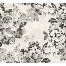 AS Création florale Mustertapete Belle Epoque Strukturprofiltapete grau metallic schwarz 10,05 m x 0,53 m