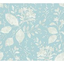 AS Création florale Mustertapete Memory 3 Vliestapete blau grau metallic 10,05 m x 0,53 m