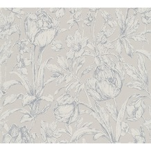 AS Création florale Mustertapete Memory 3 Vliestapete grau metallic 10,05 m x 0,53 m