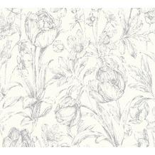 AS Création florale Mustertapete Memory 3 Vliestapete metallic weiß 10,05 m x 0,53 m