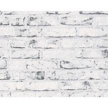 AS Création Mustertapete in Backsteinoptik New England 2, Tapete, beige, grau