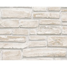 AS Création Mustertapete in Steinoptik Dekora Natur, Strukturprofiltapete, signalweiß, branbeige, moosgrau 10,05 m x 0,53 m