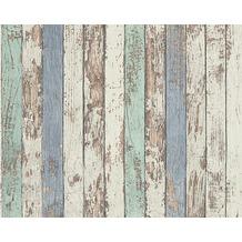 AS Création Mustertapete in Vintage-Holzoptik Dekora Natur, Tapete, graubeige, umbragrau, signalweiß,graphitgrau 10,05 m x 0,53 m