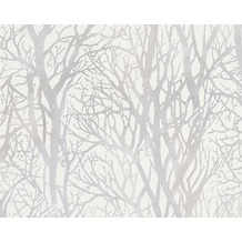 AS Création Mustertapete Life 3, Vliestapete, metallic, weiß 10,05 m x 0,53 m