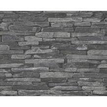 AS Création Mustertapete, Wood`n Stone, Tapete, Natursteinoptik, grau, schwarz 10,05 m x 0,53 m