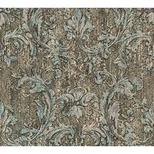 AS Création neobarocke Mustertapete in Vintage Optik Havanna Tapete blau braun metallic 10,05 m x 0,53 m