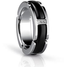 BERING Time Ring silber-schwarz 55mm
