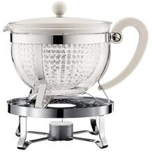 Bodum CHAMBORD SET Teekanne mit Stövchen, 1.3 l, mit cremefarbenem Plastikdeckel, Griff, Filter transparent