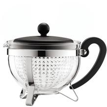 Bodum CHAMBORD Teekanne, 1.0 l, mit schwarzem Plastikdeckel und Griff, Filter transparent