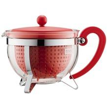 Bodum CHAMBORD Teekanne, 1.3 l, mit rotem Plastikdeckel, Griff und Filter
