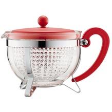 Bodum CHAMBORD Teekanne, 1.3 l, mit rotem Plastikdeckel und Griff, Filter transparent