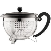 Bodum CHAMBORD Teekanne, 1.3 l, mit schwarzem Plastikdeckel und Griff, Filter transparent