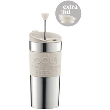 Bodum TRAVEL PRESS SET Kaffeebereiter mit extra Trinkaufsatz 0,35 l cremefarben
