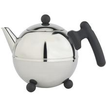 Bredemeijer doppelwandige Teekanne Duet® Bella Ronde Edelstahl glänzend schwarze Beschläge 0,75 ltr.