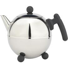 Bredemeijer doppelwandige Teekanne Duet® Bella Ronde Edelstahl glänzend schwarze Beschläge 1,5 ltr.