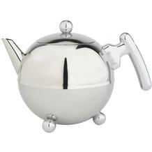 Bredemeijer doppelwandige Teekanne Duet® Bella Ronde Edelstahl glänzend schwarze verchromte Beschläge 1,2 ltr.