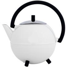 Bredemeijer doppelwandige Teekanne Duet® Saturn weiss glänzend, schwarze Beschläge 1.2 ltr.