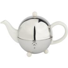 Bredemeijer Steingut-Teekanne Cosy® cremeweiß mit filzisoliertem Edelstahlmantel 0,5 ltr.