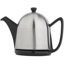Bredemeijer Steingut-Teekanne Cosy® Manto schwarz mit filzisoliertem Edelstahlmantel matt gebürstet 1,0 ltr.