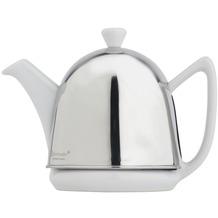 Bredemeijer Steingut-Teekanne Cosy® Manto weiß mit filzisoliertem Edelstahlmantel hochglanzpoliert 0,6 ltr.