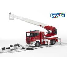 Bruder Scania R-Serie Feuerwehr mit Leiter und Wasserpumpe