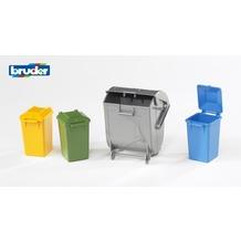 Bruder Zubehör: Mülltonnen Set (3 kleine, 1 große Tonne)