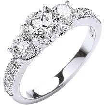 Buckley London Ring rhodiniert mit Kristallen Silbergrau 52 (16,6)