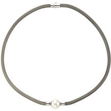 Celesta Collier 925/- Sterling Silber Perle Silbergrau