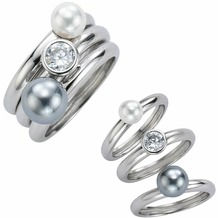 Celesta Ring 925/- Sterling Silber Perlen weiß 54 (17,2)