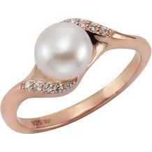 Celesta Ring 925/- Sterling Silber Perle rot 54 (17,2)