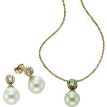 Celesta 3tlg. Set 925/- Sterling Silber Perlen gelb