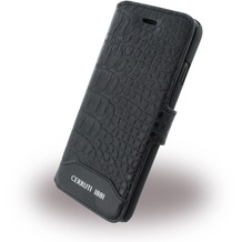 Cerruti 1881 Crocodile - Leder BookCover - Apple iPhone 7 - Schwarz