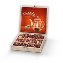 "Creano ErblühTee 12er Holz-Präsentbox ""Weißer Tee"" - 12 Teeblumen (6 Sorten) in dekorativer Holzbox mit Branding"